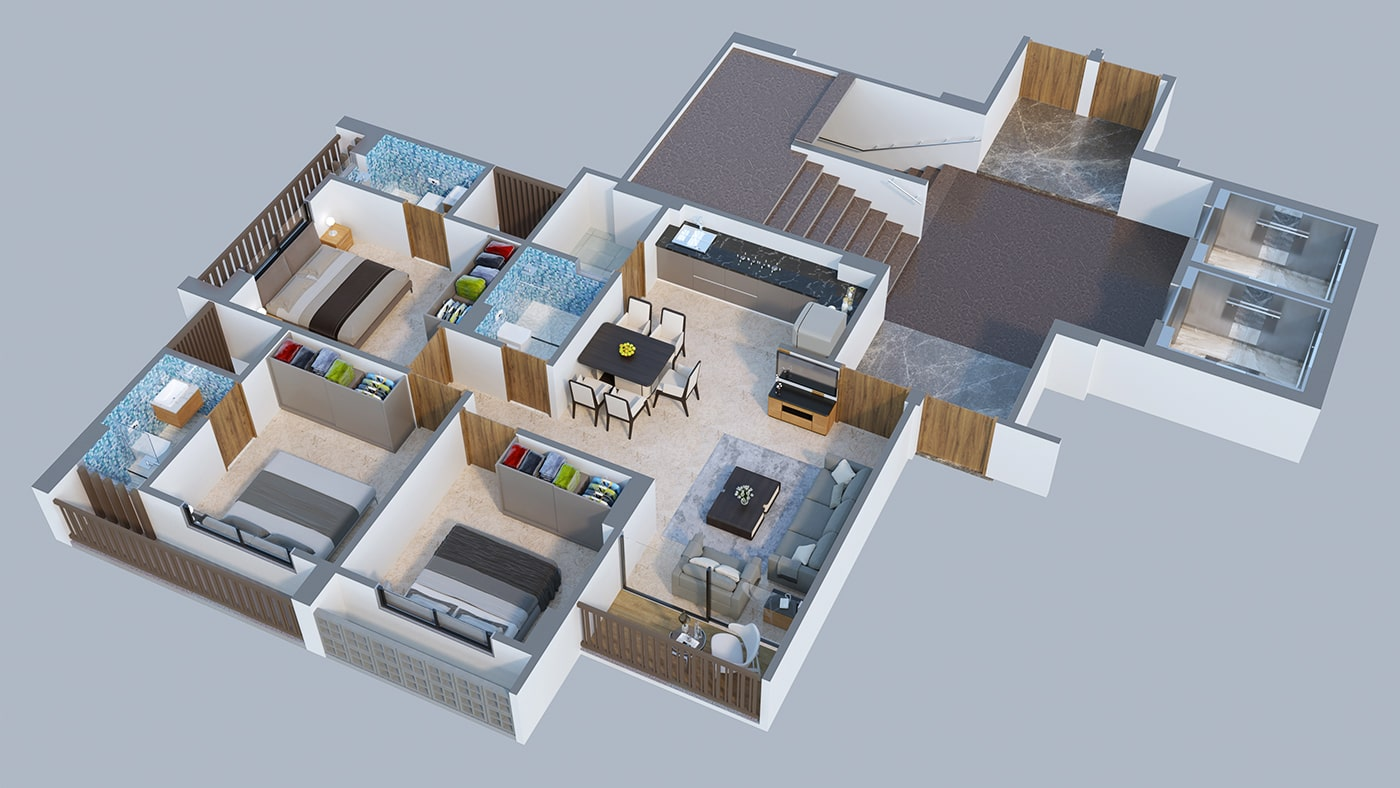 2bhk 3D Floor Plan