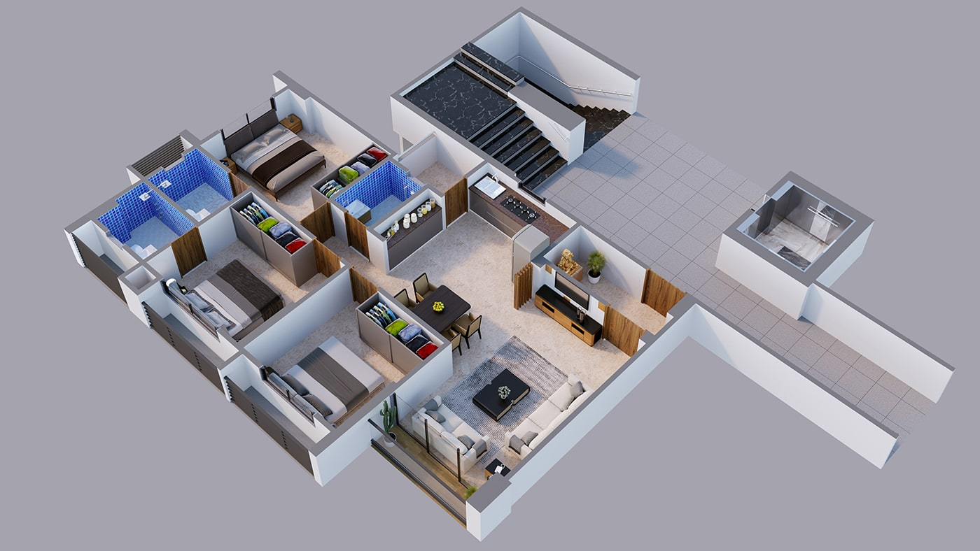 Master 2bhk 3D Floor Plan